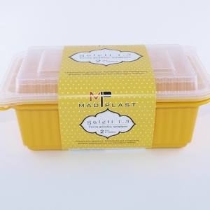 Meal Prep Containers Galeti Yellow Freezer and Dishwasher Free 3Set 1lt 3Set x35 Set/Box 15Box./Palette