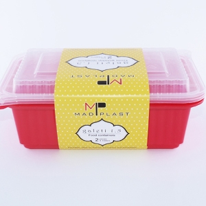 Meal Prep Containers Galeti Red Freezer and Dishwasher Free 2Set 1,5lt 2Set x35 Set/Box 15Box./Palette