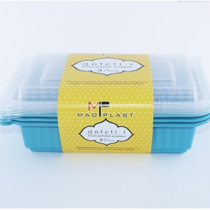 Meal Prep Containers Galeti Turquoise Freezer and Dishwasher Free 3Set 1lt 3Set x35 Set/Box 15Box./Palette