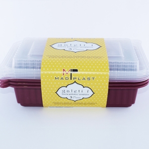 Meal Prep Containers Galeti Bordeaux Freezer and Dishwasher Free 3Set 1lt 3Set x35 Set/Box 15Box./Palette