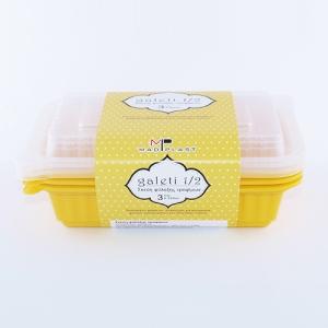 Meal Prep Containers Galeti Yellow Freezer and Dishwasher Free 3Set 500ml 3Set x42 Set/Box 14Box./Palette