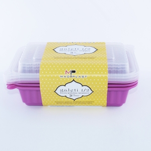 Meal Prep Containers Galeti Purple Freezer and Dishwasher Free 3Set 500ml 3Setx42 Set/Box 14Box./Palette