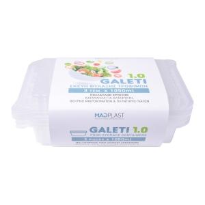 Φαγητοδοχείο Galeti  3τεμ 1lt Λευκό Δοχείο Φαγητού Κατάλληλο για Κατάψυξη 3τεμ Χ 35 Σετ/Κιβώτιο 15Κιβ./Παλέτα