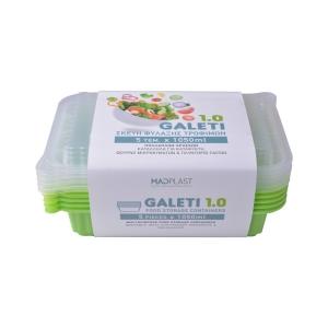 Φαγητοδοχείο Galeti 5τεμ 1lt Λαχανί Δοχείο Φαγητού Κατάλληλο για Κατάψυξη  5τεμ Χ30 Σετ/Κιβώτιο 15Κιβ./Παλέτα