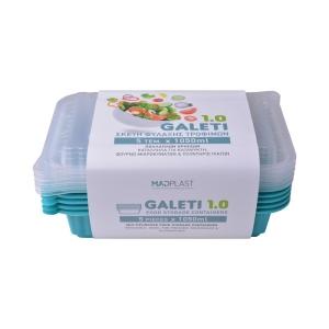 Φαγητοδοχείο Galeti 5τεμ 1lt Τιρκουάζ Δοχείο Φαγητού Κατάλληλο για Κατάψυξη  5τεμ Χ30 Σετ/Κιβώτιο 15Κιβ./Παλέτα