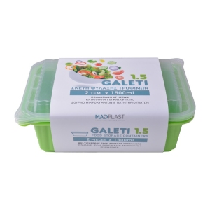 Meal Prep Containers Galeti Lime Freezer and Dishwasher Free 2Set 1,5lt 2Set x35 Set/Box 15Box./Palette