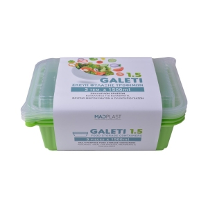 Meal Prep Containers Galeti Lime Freezer and Dishwasher Free 3Set 1.5lt 3Set x30 Set/Box 15Box./Palette