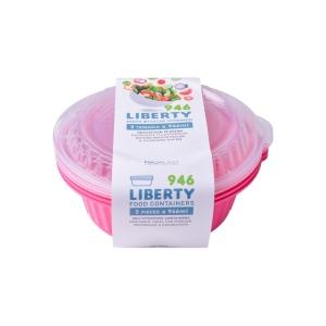 Meal Prep Containers Liberty Fuchsia Freezer and Dishwasher Free 3Set 1lt 3 Set x24 Set/Box 20Box./Palette