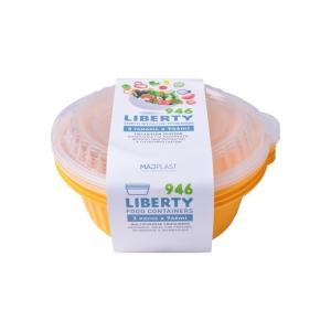 Φαγητοδοχείο Liberty Kίτρινο Κατάλληλο για Πλυντήριο Πιάτων 3τεμ 1lt 3τεμ Χ24 Σετ/Κιβώτιο 20Κιβ./Παλέτα