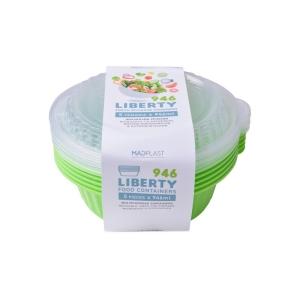 Φαγητοδοχείο Liberty Λαχανί Κατάλληλο για Πλυντήριο Πιάτων 5τεμ 1lt 5τεμ Χ20 Σετ/Κιβώτιο 20Κιβ./Παλέτα