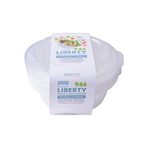 Φαγητοδοχείο Liberty Διάφανο Κατάλληλο για Πλυντήριο Πιάτων 5τεμ 1lt 5τεμ Χ20 Σετ/Κιβώτιο 20Κιβ./Παλέτα