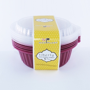 Meal Prep Containers Liberty Bordeaux Freezer and Dishwasher Free 5Set 1lt 5x20 Set/Box 20Box./Palette
