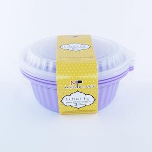 Meal Prep Containers Liberty Lila Freezer and Dishwasher Free 3Set 1lt 3Setx24 Set/Box 20Box./Palette